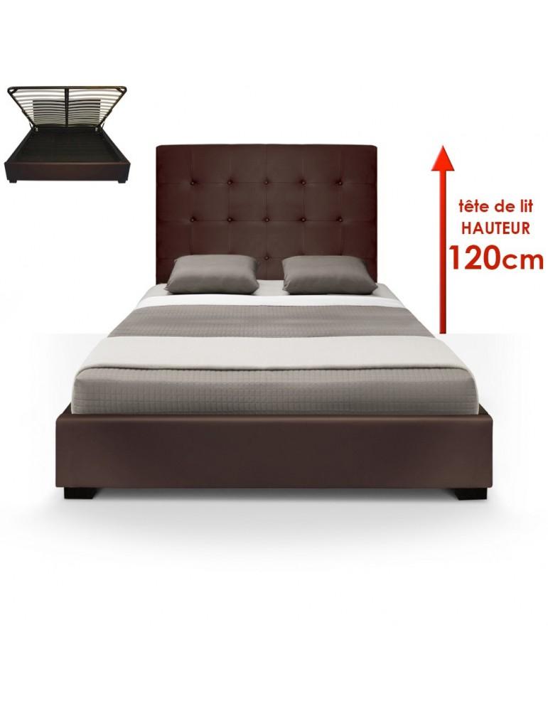 Lit Coffre Trevene + Sommier 140cm Marron LT140-Marron Foncé