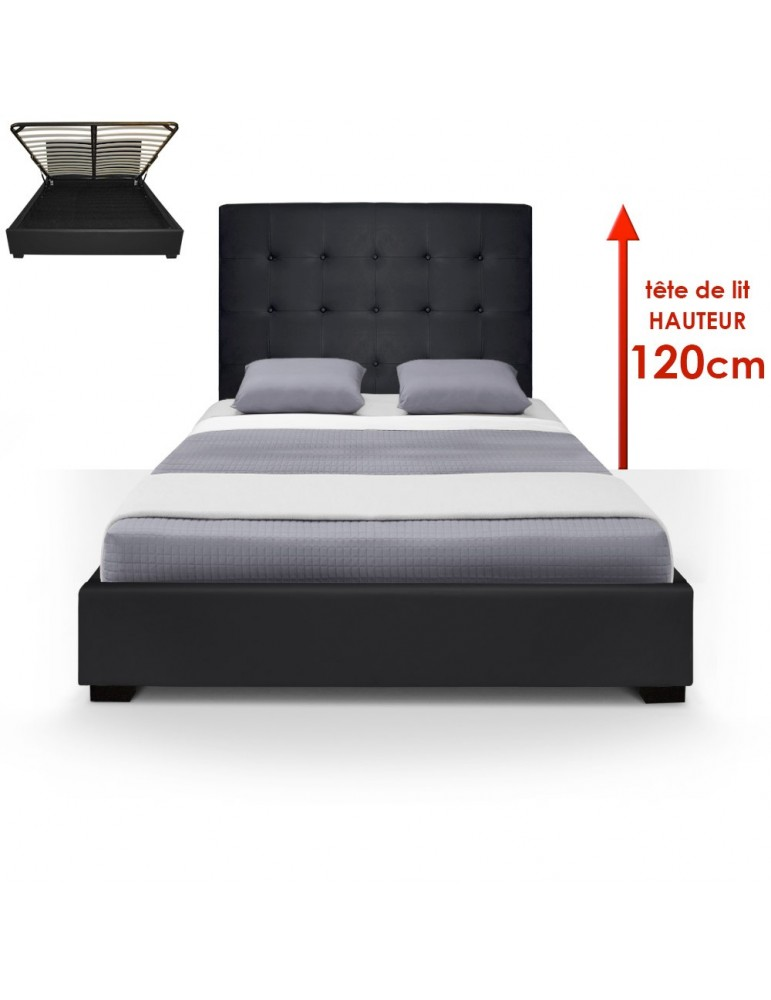 Lit Coffre Trevene + Sommier 140cm Noir LT140-Noir
