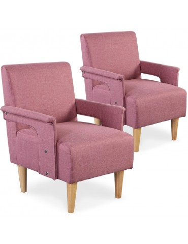 Lot de 2 fauteuils Quebec Tissu Rose yz139apink