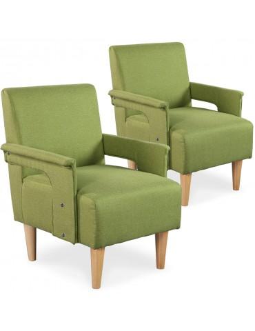Lot de 2 fauteuils Quebec Tissu Vert yz139agreen