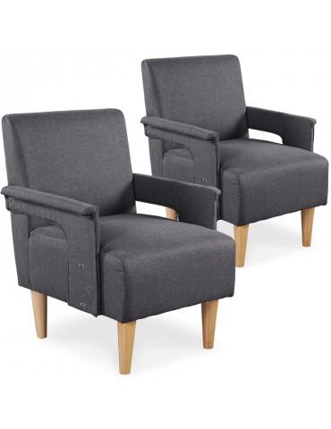 Lot de 2 fauteuils Quebec Tissu Gris yz139agrey