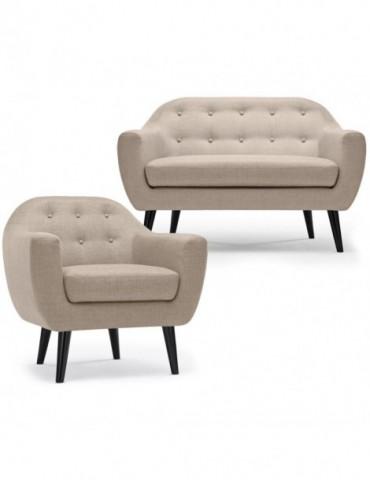 Ensemble canapé et fauteuil 2+1 places scandinave Fidelio Tissu Beige hy804112beige