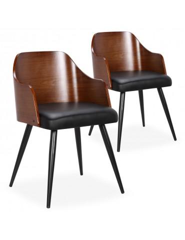 Lot de 2 chaises scandinaves Persane Bois Noisette et Simili Noir 50992lot2noisnoir