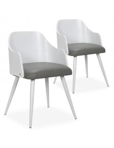 Lot de 2 chaises scandinaves Persane Bois Blanc et Simili Gris 50992lot2blancgris