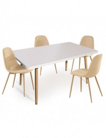 Table rectangulaire scandinave Nora Blanc + Lot de 4 chaises scandinaves Gao Tissu Beige p805sqblancgaobeige