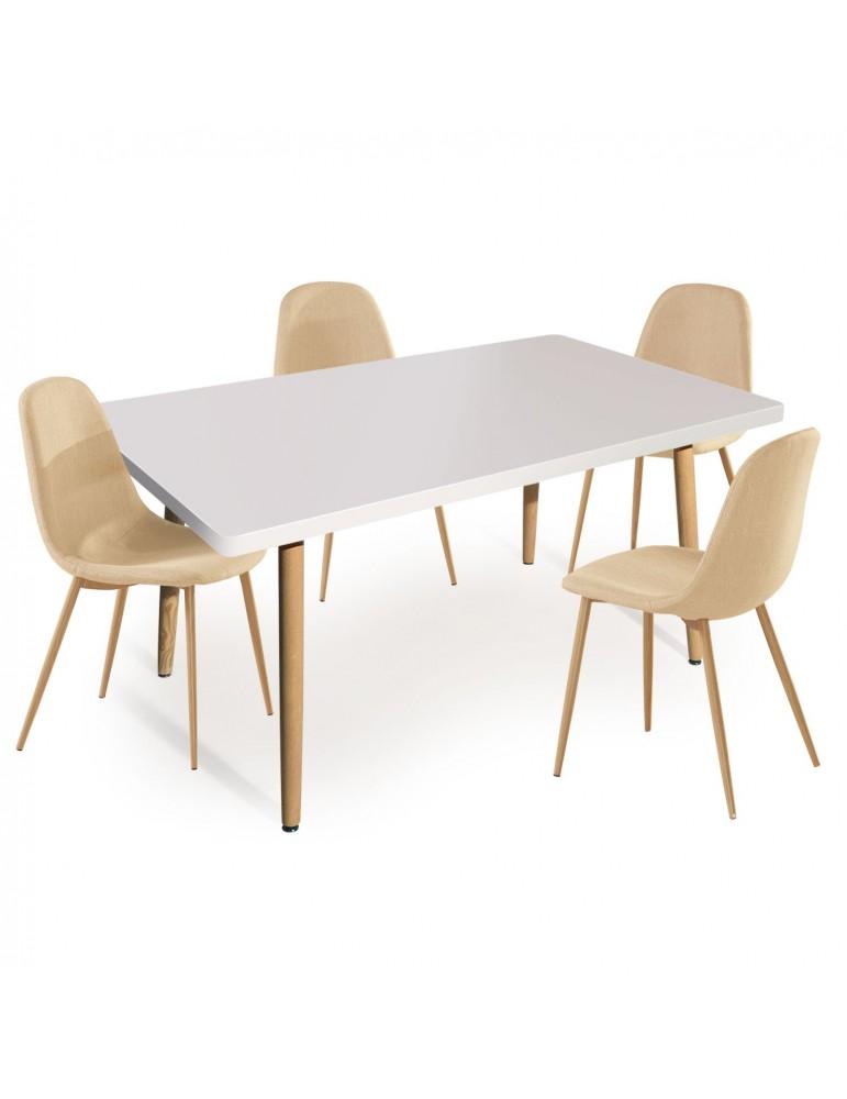 Table Rectangulaire Scandinave Nora Blanc Lot De 4 Chaises Scandi