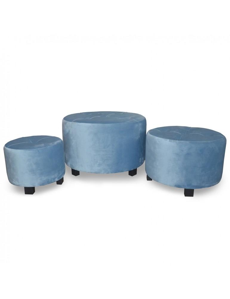 Set de 3 poufs Rondeo Velours Bleu jy18a129bluev