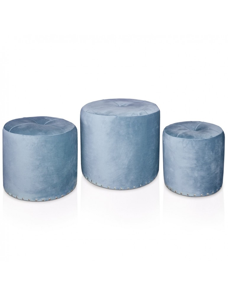 Set de 3 poufs Salsa Velours Bleu jy18a138blue