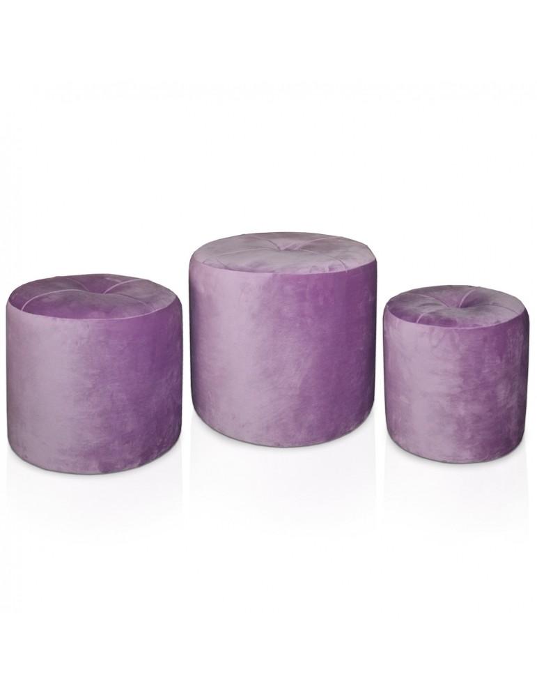 Set de 3 poufs Salsa Velours Violet jy18a138purple