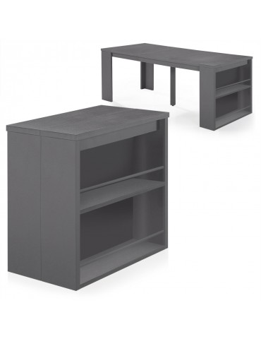 table console avec rangement maxwell gris at8219gris. Black Bedroom Furniture Sets. Home Design Ideas