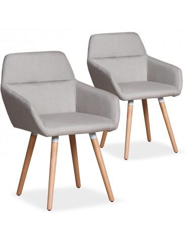 Lot de 2 chaises / Fauteuils scandinaves Frida Tissu Beige lf3116lot2beige