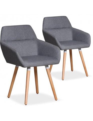 Lot de 2 chaises / Fauteuils scandinaves Frida Tissu Gris Clair lf3116lot2gris