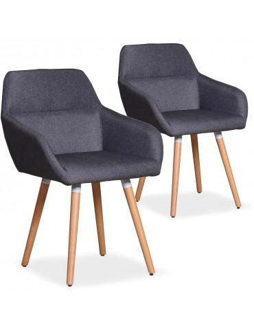 Lot de 2 chaises / Fauteuils scandinaves Frida Tissu Gris Foncé lf3116lot2grisfonce