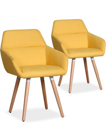 Lot de 2 chaises / Fauteuils scandinaves Frida Tissu Jaune lf3116lot2jaune