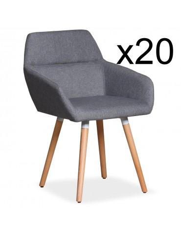 Lot de 20 chaises / Fauteuils scandinaves Frida Tissu Gris Clair lf3116lot20gris