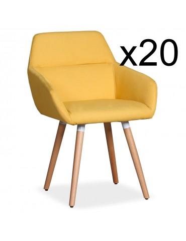 Lot de 20 chaises / Fauteuils scandinaves Frida Tissu Jaune lf3116lot20jaune