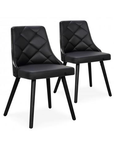 Lot de 2 chaises scandinaves Lalix Bois Noir et Simili Noir 4630lot2blackoaknoir