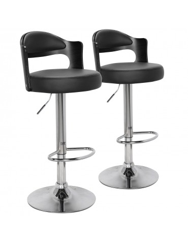 Lot de 2 chaises de bar Ruben Bois Noir & Simili Noir 1025lot2blackoaknoir