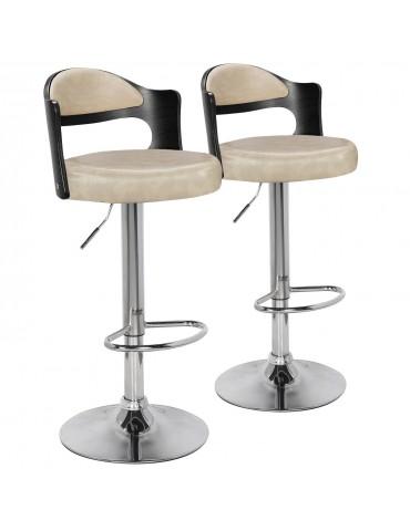 Lot de 2 chaises de bar Ruben Bois Noir & Simili Crème 1025lot2blackoakcreme