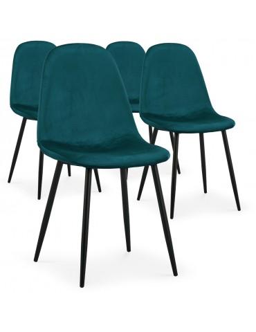 Lot de 4 chaises Gao Velours Vert dc5081velvetgreen