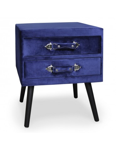 Table de chevet 2 tiroirs Bardo Velours Bleu msxbt1815velvetblue