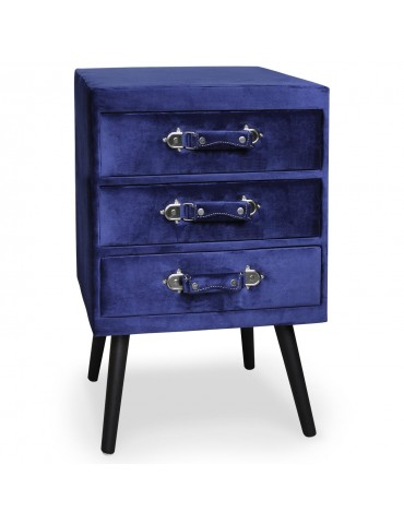 Commode 3 tiroirs Bardo Velours Bleu msxbt1816velvetblue