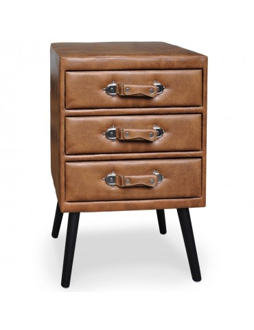 Commode 3 tiroirs Bardo Simili P.U. Marron msxbt1816pubrown