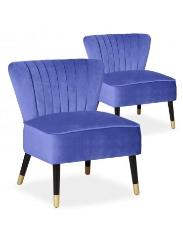Lot de 2 fauteuils Alma Velours Bleu 8446bluevelvet