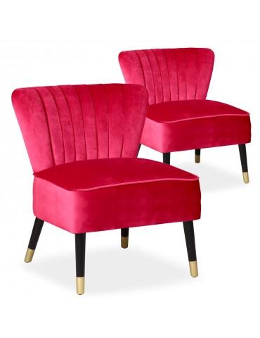 Lot de 2 fauteuils Alma Velours Rouge 8446redvelvet