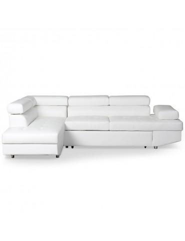 Canapé d'angle convertible Lido Blanc lf3347dblanc