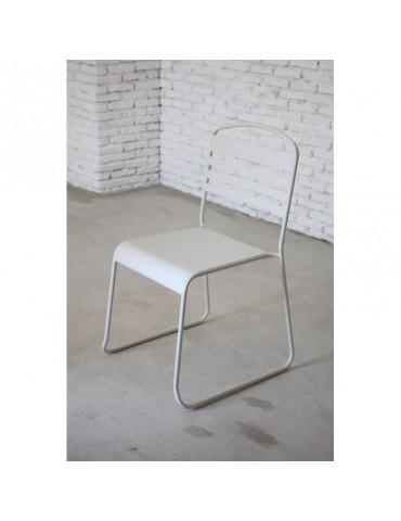 Nils Blanc - Lot de 2 Chaises moderne en metal peint ACD-NILS-WHITE