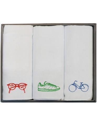 Boîte de 3 mouchoirs Luxe homme Ben Assortis 40 x 40 cm 4547090703Winkler