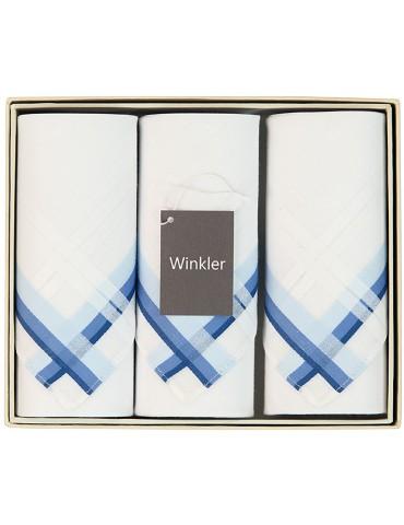 Boîte de 3 mouchoirs Luxe homme Scott Bleu 40 x 40 cm 7191060803Winkler