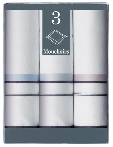 Boîte de 3 mouchoirs Diffusion Homme Antoine Bleu Marine 40 X 40 6317065803Winkler