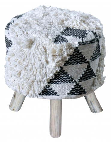 Housse de tabouret Bailys Blanc/Noir 40 X 40 X 40 5430078000The Rug Republic