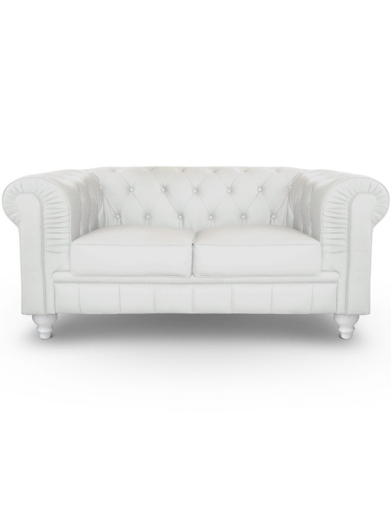 Canapé 2 places Chesterfield Blanc A605-2-Blanc