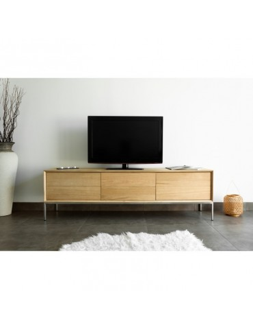 KUBICO MEUBLE TV 2 TIROIRS 1 PORTE RABATTABLE - Meuble TV en chene massif CUTE-KUBICO-MEUBLETV-2T1P