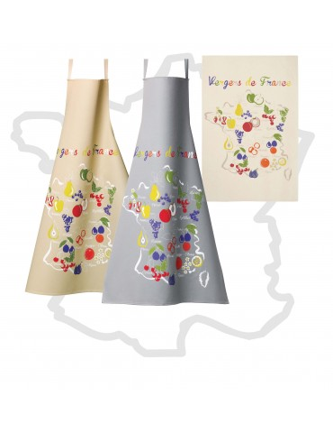 Tablier Fruits de France Latte 72 X 96 6841092000Les Ateliers du Linge