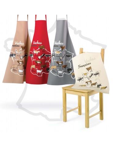 Tablier de cuisine VACHES FRANCAISES GRIS 72 X 96 8858091000Les Ateliers du Linge