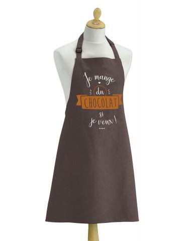 Tablier de cuisine Chocolat Si je veux Marron 90 X 72 4135050000Torchons & Bouchons