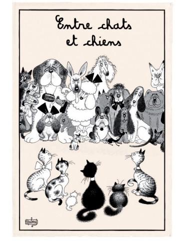 Torchon Dubout Entre Chats Et Chiens Ecru 48 X 72 2103010000Torchons & Bouchons