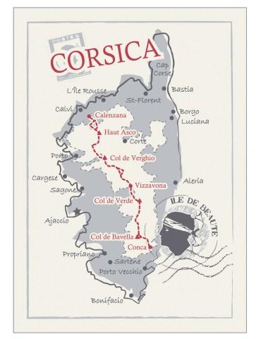 2 torchons Carte Corsica Ivoire 50 x 70 6251090602Les Ateliers du Linge
