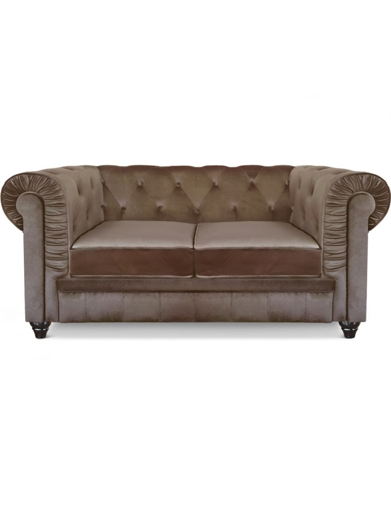 canape 2 places chesterfield velours taupe a605v2 taupe With tapis exterieur avec canapé 2 places chesterfield velours
