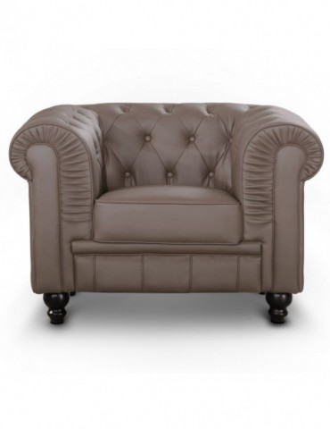 Fauteuil Chesterfield Taupe A605-1-Taupe
