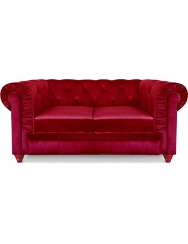 Canapé 2 places Chesterfield Velours Rouge A605-V-2-Rouge