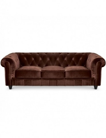 Canapé 3 places Chesterfield Velours Marron A605-V-3-Marron