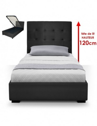 Lit Coffre Trevene + Sommier 90cm Noir LT090-Noir