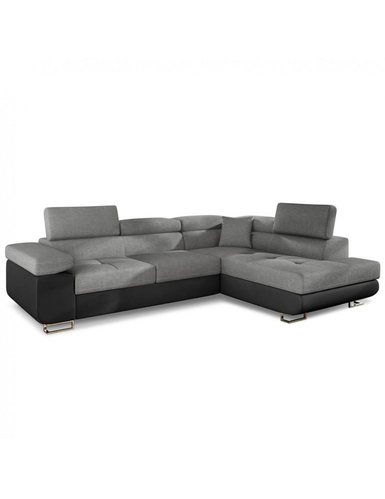 Canapé d'angle convertible Antoni avec têtières relevables Simili Noir et Tissu Gris foncé andsoft11sawana05