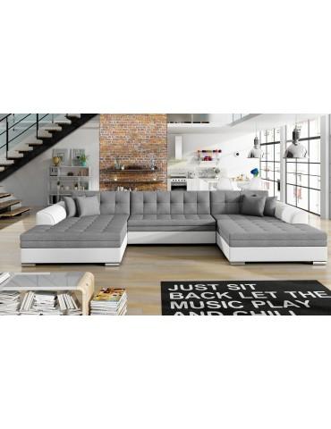 Canapé d'angle convertible Vento Simili Blanc et Tissu Gris Clair vetsawana21soft17