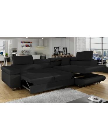 Canapé d'angle convertible Antoni avec têtières relevables Simili Noir andsoft11